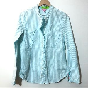 Lilly Pulitzer Ruffled Pinstripe Blouse
